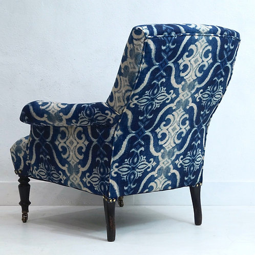 A 19th Century French Napoleon III Armchair upholstered in Stoff Linen Fabric