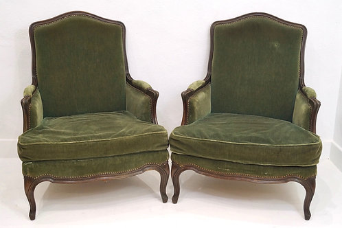 A Handsome Pair of French 19th Century Louis XV Salon Armchairs
