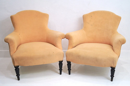 A Rare Pair of French 19th Century Tub Chairs