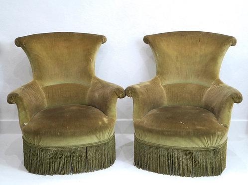 A Rare Pair of French 19th Century Napoleon III Salon Armchairs