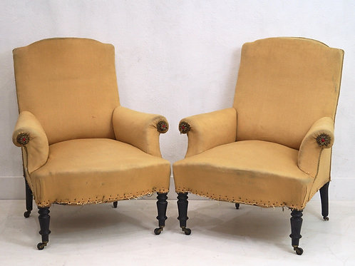 A Very Rare Pair of 19th Century French Napoleon III Armchairs