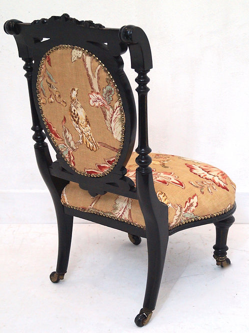 Antique Ebonised Nursing Chair in 'Mulberry' Linen Fabric