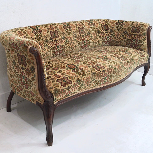 An Antique English Cabriole Leg Two Seater Sofa