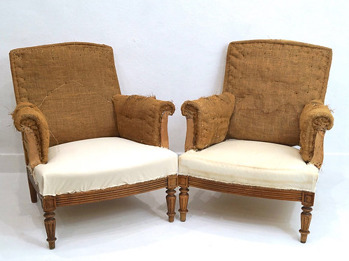 A Pair of Antique French Upholstered Armchairs