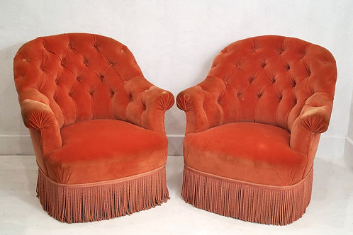 A pair of Vintage French Button Back Crapauds / Tub Chairs