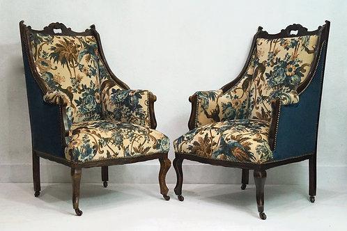 Pair of Antique Victorian Salon Armchairs