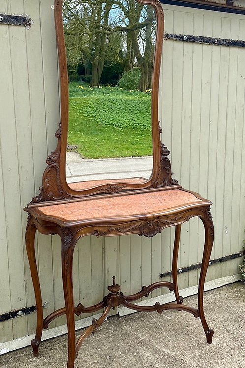 Beautiful French Antique 19th Century Louis XV Console & Mirror Ensemble