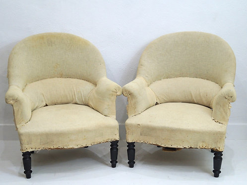 A Rare Pair of French 19th Century Crapaud Tub Chairs
