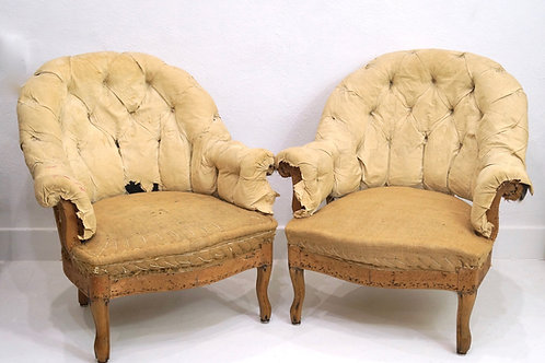 A Rare Pair of French 19th Century Button Back Crapaud Tub Chairs