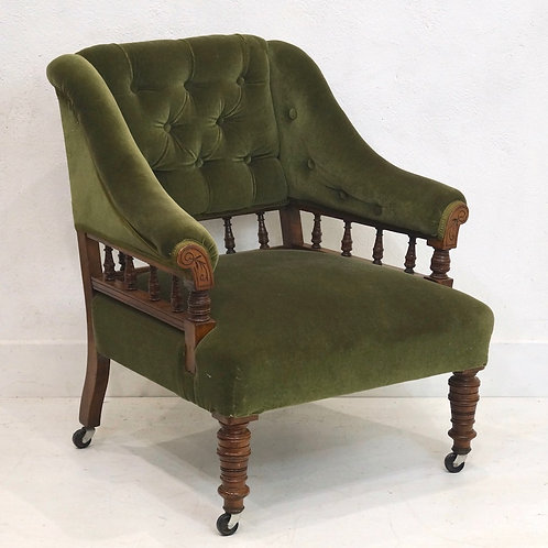 A Handsome Antique English Upholstered Library Chair