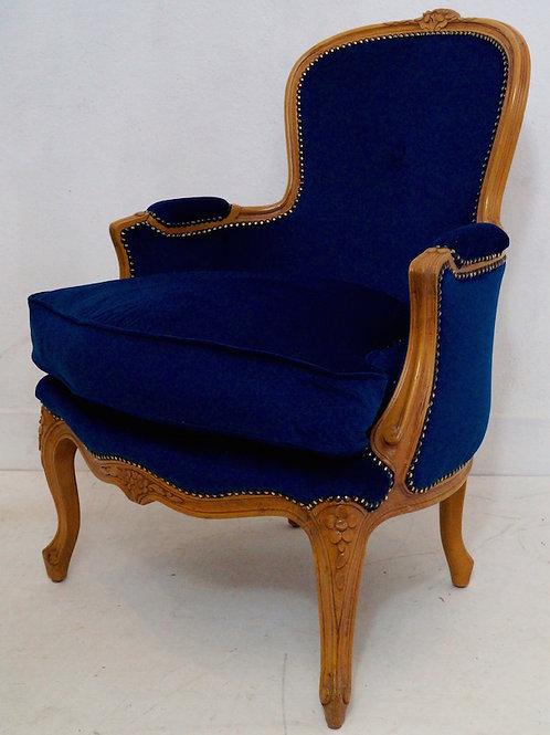 Vintage French Louis XV Bergere Armchair in Royal Blue Velvet