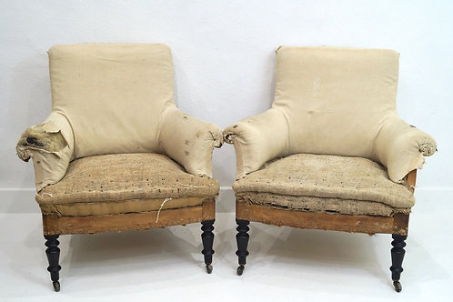 A Rare Pair of Handsome French 19th Century Napoleon III Armchairs