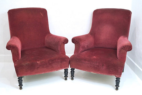 A Pair of French 19th Century Napoleon III Bergere Armchairs