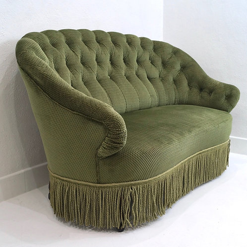 An Antique French Napoleon III Buttoned Two Seater Sofa