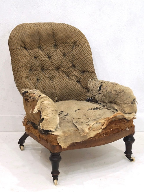 A 19th Century English Upholstered Iron Back Tub Chair