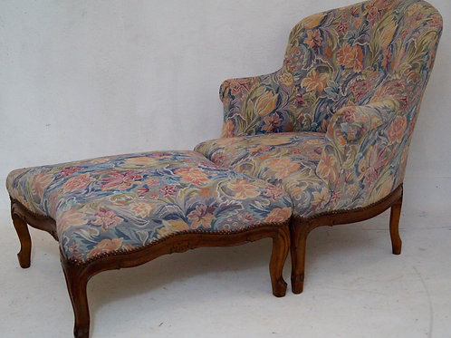Antique French Tub Chair and Stool / Chaise Longue