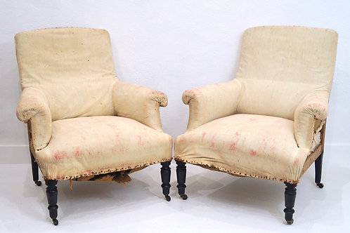 A Rare Pair of French 19th Century Napoleon III Armchairs