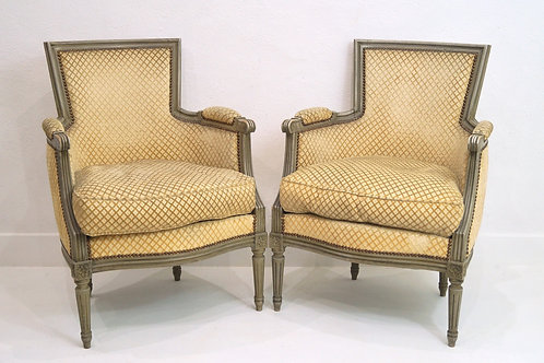 A Rare Pair of French Louis XVI Bergere Armchairs