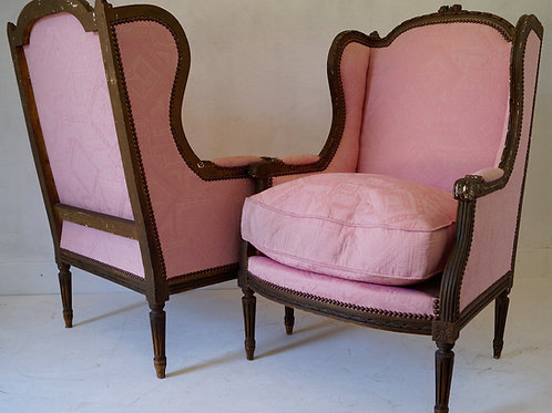 Pair of 19thC French Louis XVI Bergere Armchairs