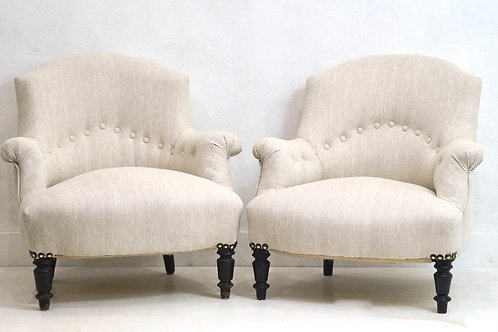 Antique French His & Hers Louis Philippe Tub Chairs / Crapaud in a Flax Linen