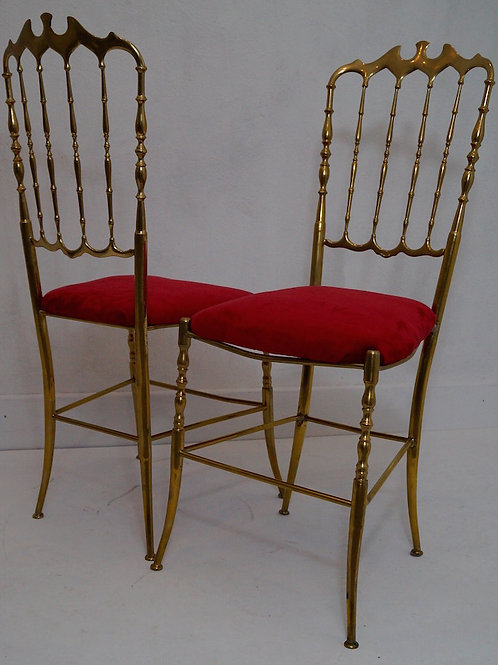 A pair of mid 20th Century Italian Chiavari Brass Chairs