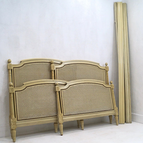 Rare Pair of circa 1950's French Louis XVI Caned Single Beds