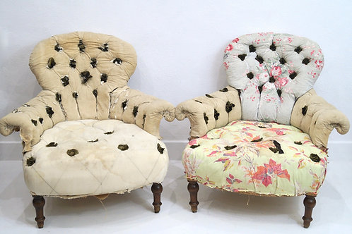 A Very Rare Pair of French 19th Century Buttoned Armchairs