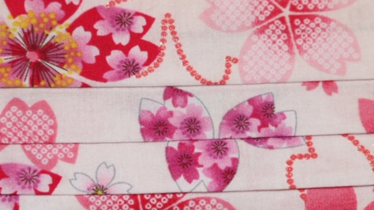 Japanese Light Pink Floral Print Face Mask Up Close
