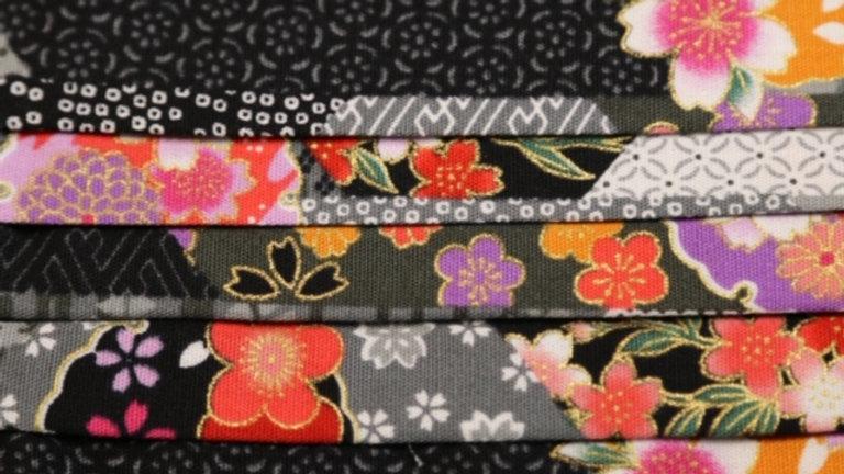 Japanese Black Floral Face Mask Up Close