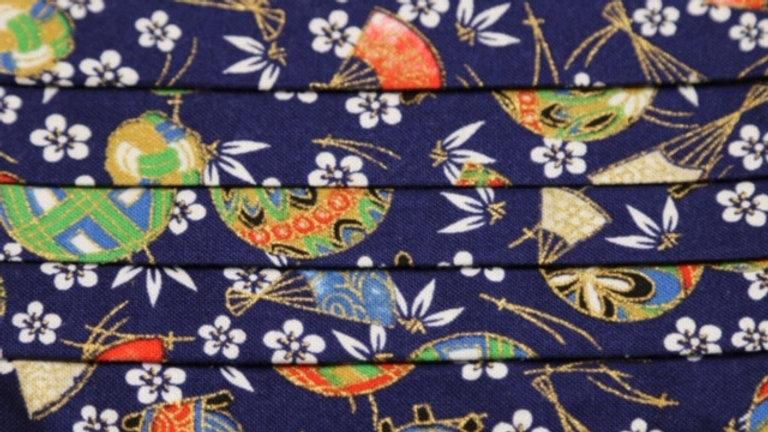 Japanese Blue Floral Face Mask Up Close