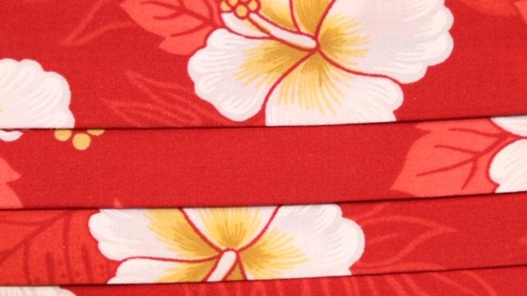Red Hawaiian Floral Print Face Mask Up Close