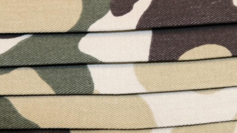 Military Desert Camo Face Mask Print Up Close