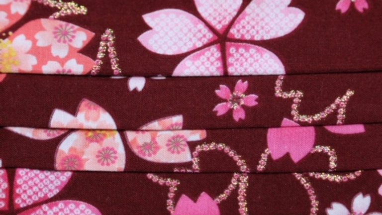 Japanese Pink/Maroon Floral Face Mask Up Close