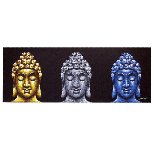 Buddha Painting - Three Heads Black