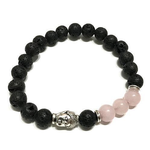 Lava Stone Bracelet - Buddha Rose Quartz