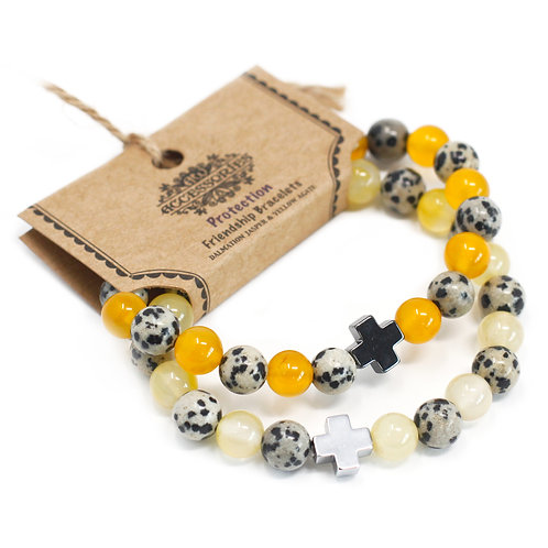 Gemstones Friendship Bracelets - Protection - Dalmatian Jasper & Yellow Agate