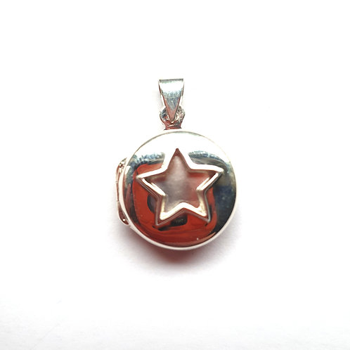 Silver Round Star Locket for ashes