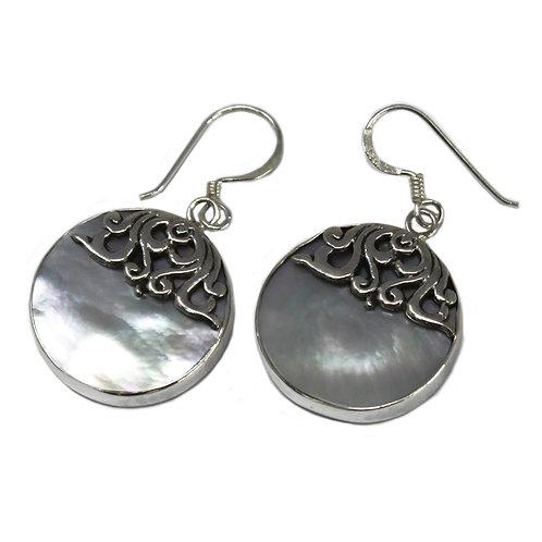 Shell & Silver Earrings - Classic Disc - MOP