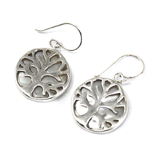 Tree of Life Silver Earrings 15mm - Mother of Pearl