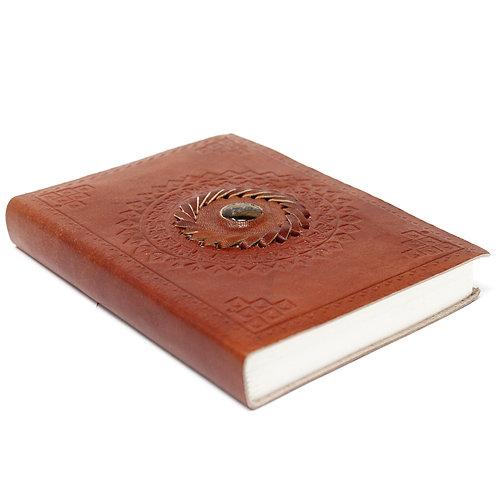 "Leather Tigereye Notebook (7x5"")"