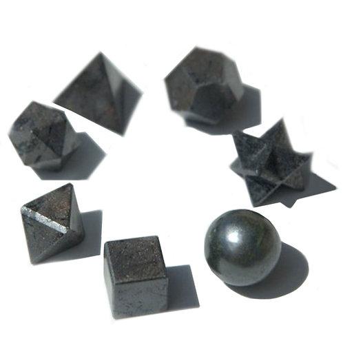Geometric Seven Piece Black Agate Set