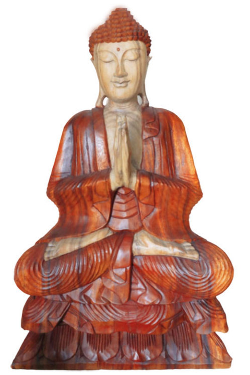 Hand Carved Buddha Statue - 80cm Welcome