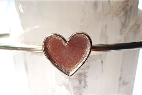 Silver heart bangle for ashes