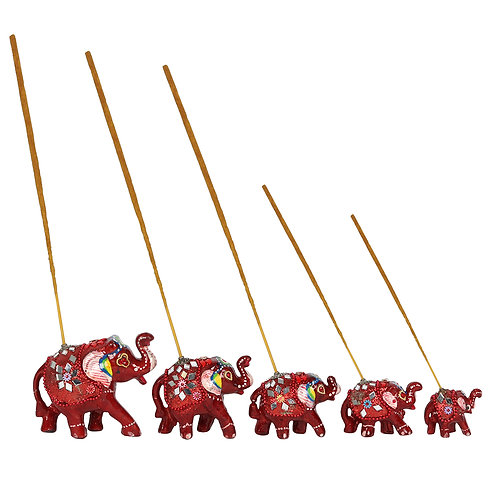 Set of 5 Red Elephant Incense Burners