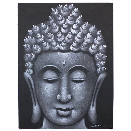 Buddha Painting Grey Brocade Detail
