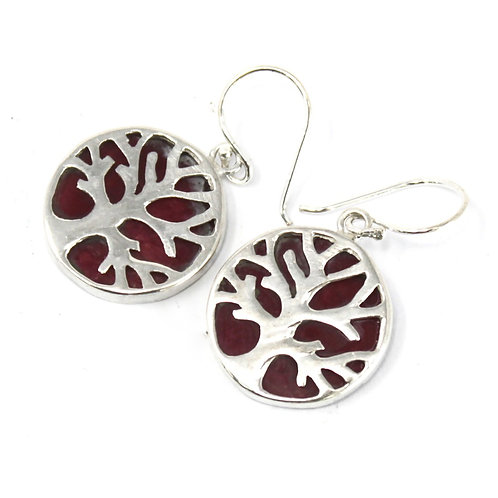 Tree of Life Silver Earrings 15mm - Coral Effect