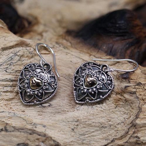 Silver & Gold Earrings - Mandala Hearts