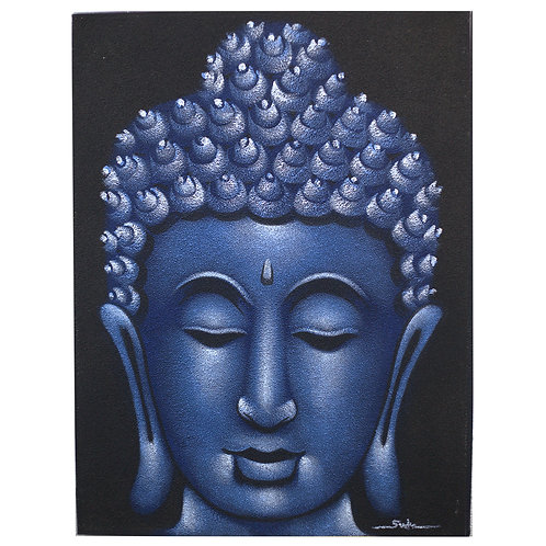 Buddha Painting Blue Sand Finish