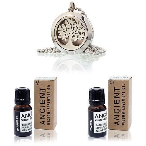 Tree of Life Diffuser Necklace and Essential Oil Blends Set