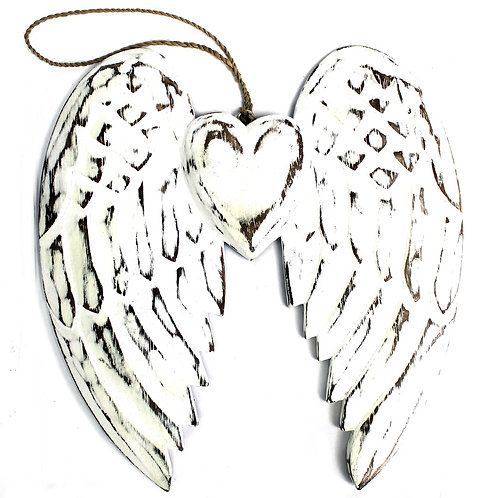 Hand Crafted Double Angel Wing & Heart - 24cm